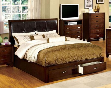 Furniture of America Enrico III CM7066X Bed with Contemporary Style, Storage Platform Bed, Padded Leatherette Headboard, 2 Drawers in Footboard