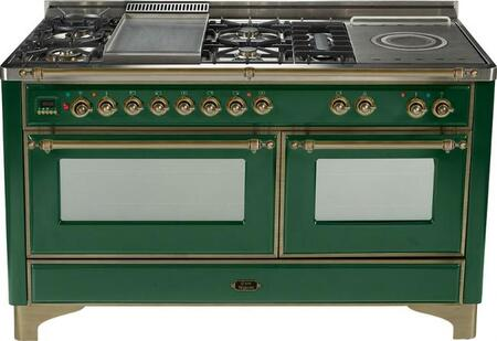Ilve UM150FMPVSY Majestic Series Dual Fuel Freestanding Range with Sealed Burner Cooktop, 2.8 cu. ft. Primary Oven Capacity, Warming in Green