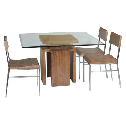 Allan Copley Designs 3050504 Sebring 48 Square Glass Top Dining Table, Oak Finished Base