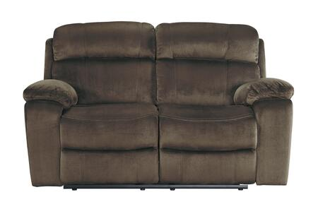 "Signature Design by Ashley Uhland 648014 65.8"" Power Reclining Loveseat with Adjustable Headrest, Split Back Cushion, Piped Stitching, Pillow Top Arms and Fabric Upholstery in"