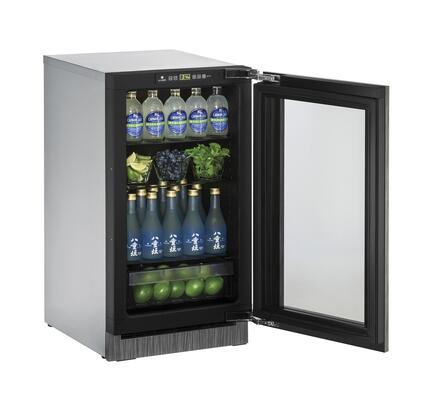 """U-Line U-2218RGL 18"""" 2000 Series Star K Compact Refrigerator with 3.6 cu. ft. Capacity, Glass Door, Convection Cooling, Touch Pad Controls, Black Interior, LED lighting, 4 Shelves and Automatic Defrost:"""