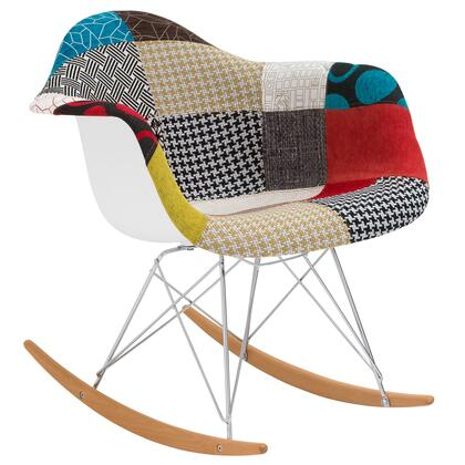"""EdgeMod Padded Rocker Collection 27"""" Rocking Chair with ABS Plastic Frame, Ash/Beech Wood Rocker Base, Hand Stitched Weave and Fabric Upholstery in"""
