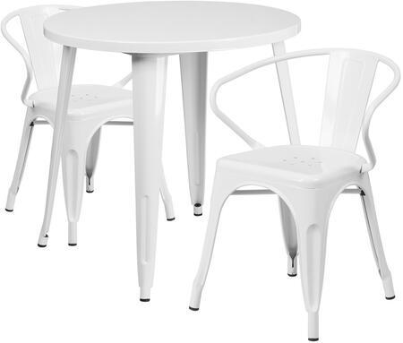 Flash Furniture CH51090TH218ARMWHGG Round Shape Patio Sets
