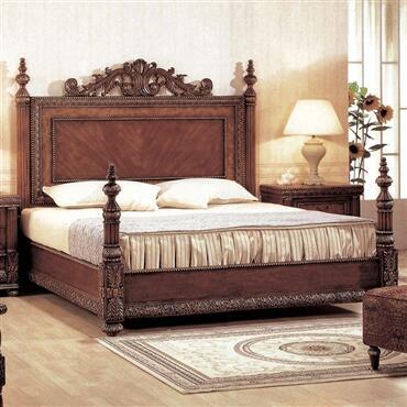 Yuan Tai 8420 Bella Panel Bed in Mahogany with Cherry Finish