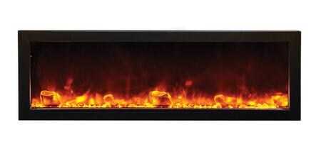 Amantii BIDEEP Outdoor Electric Built-In Fireplace with 4 Stage Front Lighting, Hard Wire Ready, Remote Control and Steel Surround in Black Glass
