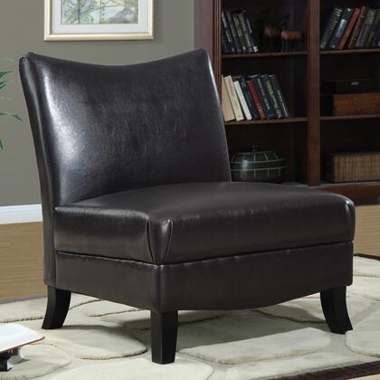 Monarch I8046 Armchair Faux Leather Wood Frame Accent Chair