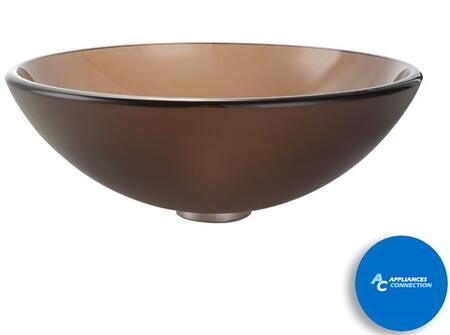"""Kraus GV103X Singletone Series 17"""" Round Vessel Sink with 12-mm Tempered Clear Brown Glass Construction, Easy-to-Clean Polished Surface, and Included Pop-Up Drain with Mounting Ring"""