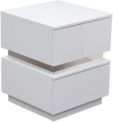 "Diamond Sofa Elle ELLENS 18"" Accent Table with 2 Drawers, High Gloss Finish, Push Open Drawers and Soft Close Function in"