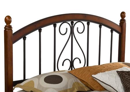 Hillsdale Furniture 1258HR Burton Way Headboard with Rails Included, Elongated Oval Finials, Black Powder Coat Metal and Slender Posts in Cherry Finish