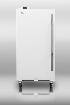 "Summit SCUF1X 34"" Medical Use Freezer with 16.7 cu. ft. Capacity, Front Mounted Lock, Digital Thermostat, Adjustable Shelves,  Commercially Approved, and 6"" Casters in White: X Hinge"