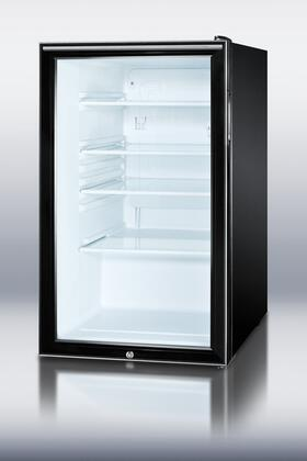 Summit SCR500BLHH  Freestanding Counter Depth Compact Refrigerator with 4.1 cu. ft. Capacity, 3 Glass ShelvesField Reversible Doors