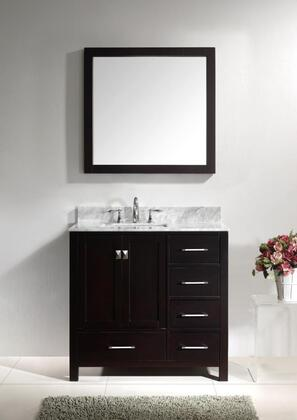 "Virtu USA GS-50036 Virtu USA 36"" Caroline Avenue Single Sink Bathroom Vanity in Espresso with Italian Carrara White Marble"