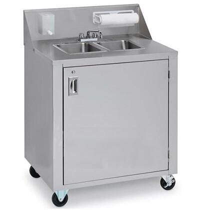 """Crown Verity CV-PHS-1C 34"""" Cold Water Single Sink with 120 Volt Water Pump, Lockable Access Door, 12 Ft. Cord with Standart Wall Plug and Backsplash with Soap and Towel Dispensers in Stainless Steel"""