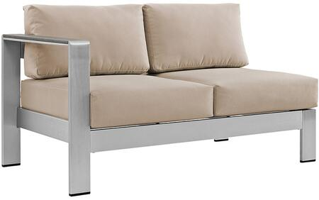 """Modway Shore Collection 53"""" Outdoor Patio Corner Sectional with Left Arm Facing Loveseat, Anodized Aluminum Frame, Black Plastic Foot Caps and Canvas Fabric Cushions in Silver Color"""