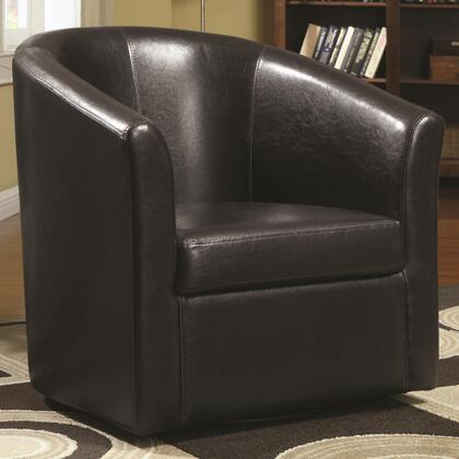 "Coaster Accent Seating 29.5"" Accent Swivel Chair with Barrel Back, Sloping Arms, Hidden Swivel Base, Casual Seam Stitching and Vinyl Upholstery in Brown Color"