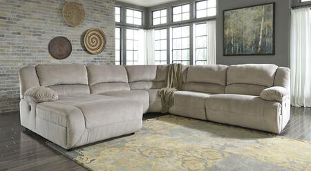 Milo Italia Esteban MI-2742FTMP 5-Piece Sectional Sofa with X Arm Press Back Chaise, Armless Chair, Wedge, Zero Wall Armless Recliner and X Arm Zero Wall Recliner in Granite