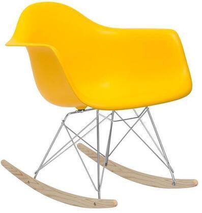 EdgeMod EM121YEL Rocker Series  Wood and Metal Frame Rocking Chair
