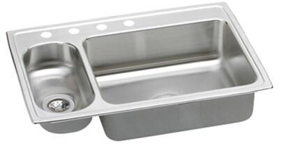 "Elkay PSMR3322 Gourmet Pacemaker Stainless Steel 33"" x 22"" Double Basin Top Mount Kitchen Sink:"