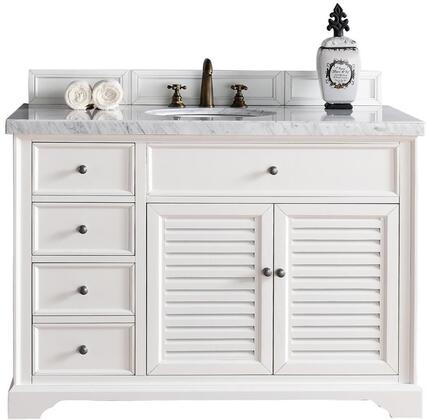 """James Martin Savannah Collection 238-104-V48-CWH- 48"""" Cottage White Single Vanity with Two Soft Closing Doors, Three Soft Closing Drawers, Antique Pewter Hardware and"""