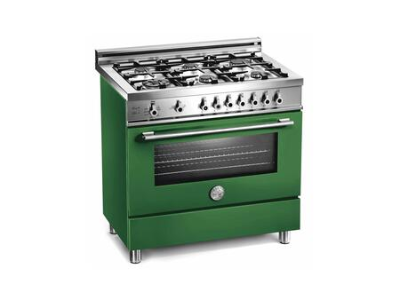 """Bertazzoni X366GGVVELP 36"""" Professional Series Gas Freestanding Range with Sealed Burner Cooktop, 3.6 cu. ft. Primary Oven Capacity, Storage in Green"""