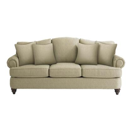 "Bassett Furniture Barclay Collection 3999-6QFC/FC120-x/STD 88"" Queen Sofa Sleeper with Fabric Upholstery, Rolled Arms, Turned Bun Feet, Piped Stitching and Traditional Style in"
