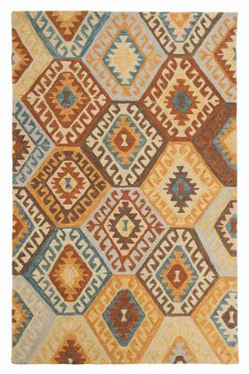 Milo Italia Darnell RG440650TM X Size Rug with Kilim Design, Hand-Tufted, Wool Material and Backed with Cotton in Multi Color