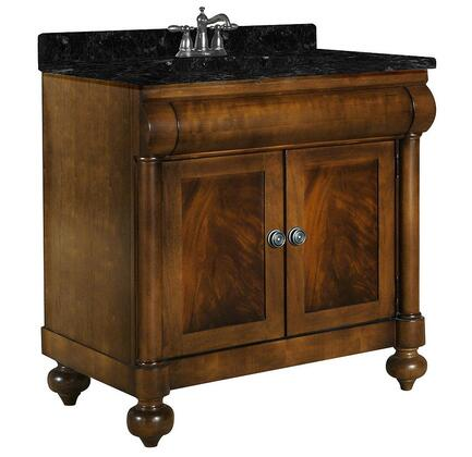 "Kaco John Adams Collection 348-3600 36"" Vanity with 2 Doors, Turned Bun Feet and Water Resistant Brown Cherry Finish with X Granite Top"