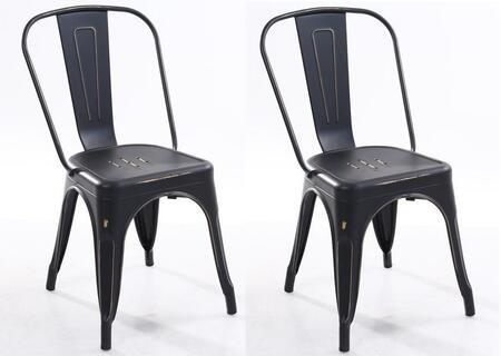 EdgeMod EM112DISBLKX2 Trattoria Series Modern Metal Frame Dining Room Chair