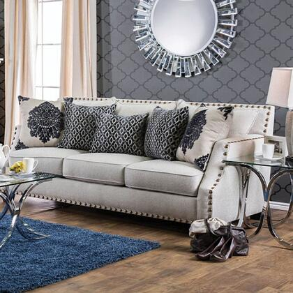 "Furniture of America Cornelia Collection SM307X-SF 85"" Sofa with Sloped Style Arms, Nailhead Trim and Accent Pillows in"