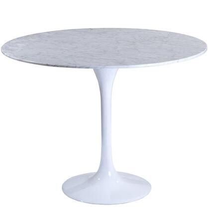 "Modway EEI-514 36"" Lippa Marble Dining Table with Modern Design, Solid Marble Top, Fiberglass Base, Scratch and Chip Resistant Finish"