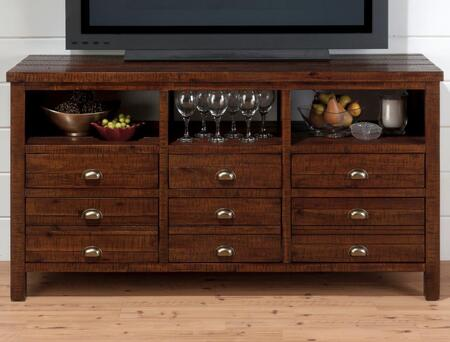 """Jofran Urban Lodge Collection 087-XX XX"""" Media Unit with Six Drawers and Three Open Media Spaces in Warm Brown"""