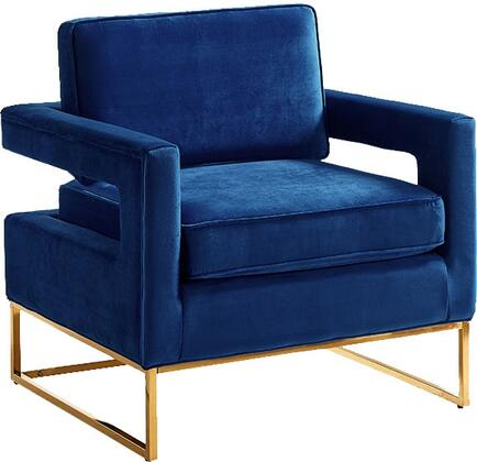 """Meridian Noah Collection 511NAVY 34"""" Accent Chair with Velvet Upholstery, Track Arms, Stainless Steel Base and Contemporary Style in"""
