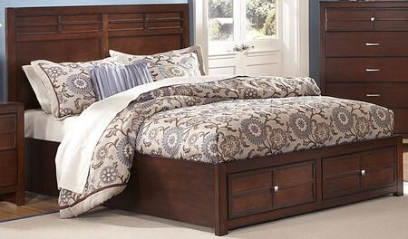 New Classic Home Furnishings 00-060-SB Kensington Storage Bed with Detailed Molding, Simple Pulls, Storage Drawers, and Contemporary Design, in Burnished Cherry