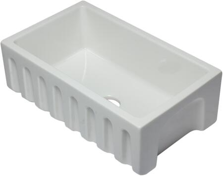 """Alfi AB3018HS-X 30"""" Reversible Smooth / Fluted Single Bowl Fireclay Farm Sink in White"""