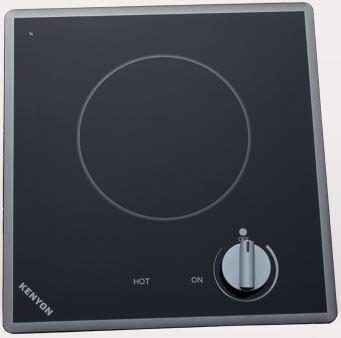 """Kenyon B4170 12"""" Cortez Series Electric Cooktop with Single Burner, Heat Limiting Surface Protectors, """"On"""" and """"Hot"""" Burner Indicator Lights and Stainless Steel Colored Knobs, in Black"""