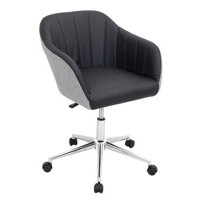 "LumiSource Shelton OFC-AC-SHL 32"" - 35"" Office Chair with PU Leather Upholstery, Chrome Base and 360-Degree Swivel in"