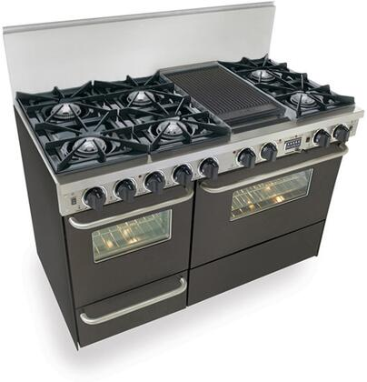"""FiveStar TTN5257 48"""" Freestanding Dual Fuel-Natural Gas Range With 6 Open Burners, 3.69 Cu. Ft Convection Primary Oven, Self-Cleaning, Broiler Drawer, 240 Volts, 40 Amps, In"""