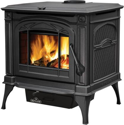 """Napoleon 1400C Cast Iron EPA Wood Burning Stove With Ceramic Glass, Rear Shield, Ash Pan, Refractory Lined Firebox, Concealed Hinges, 6"""" Top Vent Flue & In"""