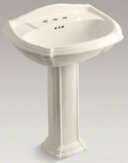 """Kohler Portrait K-2221-4-NY Pedestal Bathroom Sink with 4"""" Centerset Faucet Holes in"""
