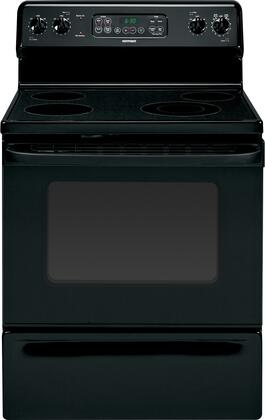 """Hotpoint RB790DTBB 30"""" Electric Freestanding Range with Smoothtop Cooktop, 4.5 cu. ft. Primary Oven Capacity, Storage in Black"""