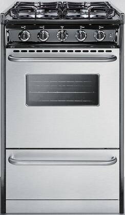 Summit TTMx1027BRSW Slide-In Gas Range with 4 Sealed Burners, Porcelain Cooktop Surface, Electronic Ignition and Broiler Compartment, in Stainless Steel