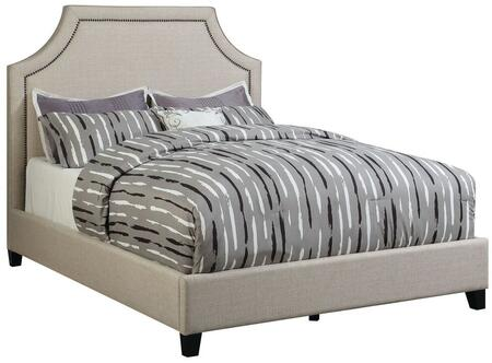 Coaster Cantillo Collection 301093 Panel Bed with Bronze Nailhead Trim, Black Solid Tapered Wood Legs and Fabric Upholstery in Oatmeal Color