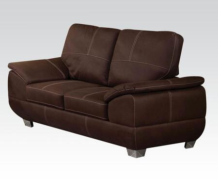 """Acme Furniture Corliss Collection 70"""" Loveseat with Polished Metal Legs, Padded Arms and Nubuck Fabric Upholstery"""