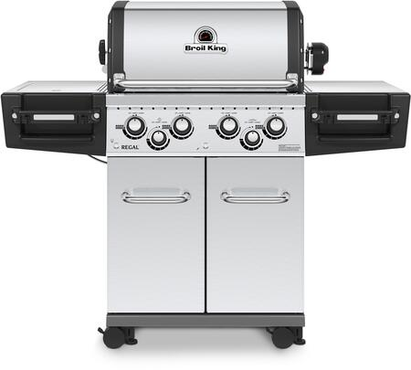 Broil King 95634 REGAL  S490 PRO Gas Grill with 4 Burners, 50000 BTU Main Burner Output, 500 sq. in. Cooking Area, 10000 BTU Side Burner, and 15000 BTU Rotisserie Burner, in Stainless Steel