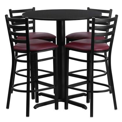 "Flash Furniture HDBF2ROU-GG 30"" Round Laminate Table Set with 4 Ladder Back Metal Bar Stools and Burgundy Vinyl Seat, Commercial Design, and Heavy Duty Construction"