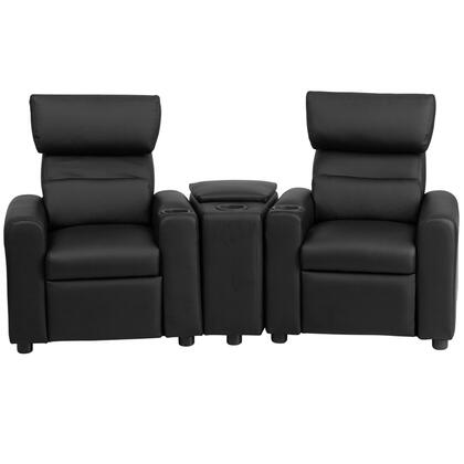 Flash Furniture BT70592B Kid's Leather Reclining Theater Seating with Storage Console