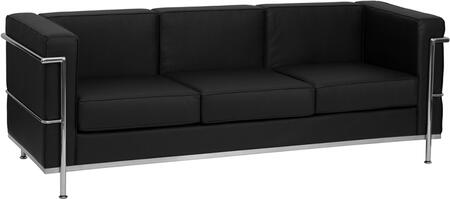 """Flash Furniture HERCULES Regal Series ZB-REGAL-810-3-SOFA-XX-GG 79"""" Leather Sofa with Encasing Frame, Straight Arm Design, and Integrated Stainless Steel Legs in"""