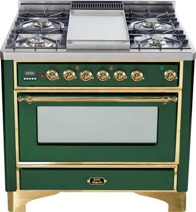 """Ilve UM90FVGGVSS 36"""" Majestic Series Gas Freestanding Range with Sealed Burner Cooktop, 3.55 cu. ft. Primary Oven Capacity, Warming in Emerald Green"""