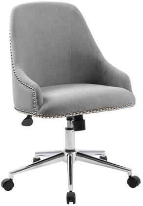 """Boss B516C 34"""" Carnegie Desk Chair with Silver Nail-Head Trim, Seat Height Adjustment, Adjustable Tilt Tension Control, 27"""" High Crown Chrome Base, and Hooded Double Wheel Casters"""
