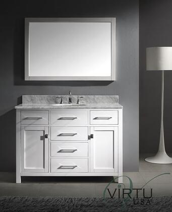 """Virtu USA Caroline MS-2048-WM 48"""" Single Sink Bathroom Vanity with Italian Carrara Marble Countertop, Framed Mirror, 2 Doors, 5 Doweled Drawers and Brushed Nickel Hardware in"""